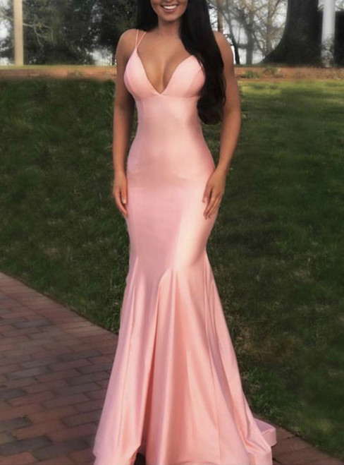 Pink Mermaid Satin Cross Back Blush Pink Long Prom Dress
