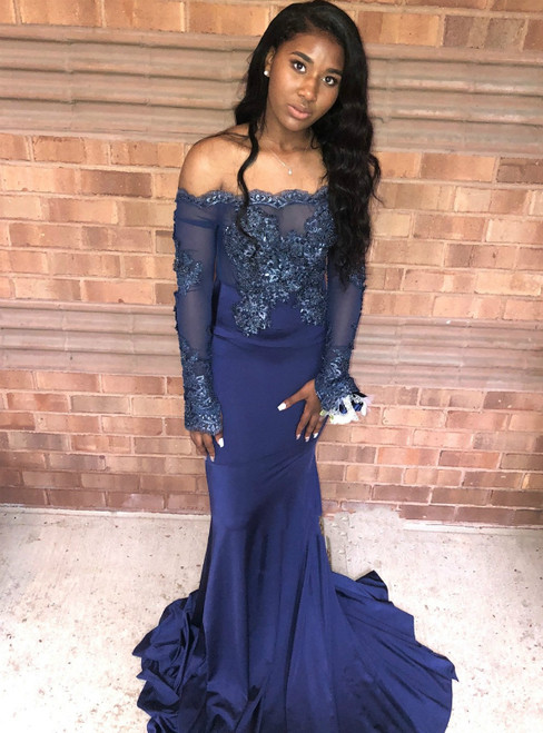 Navy Blue Mermaid Appliques Off The Shoulder Long Sleeve Prom Dress