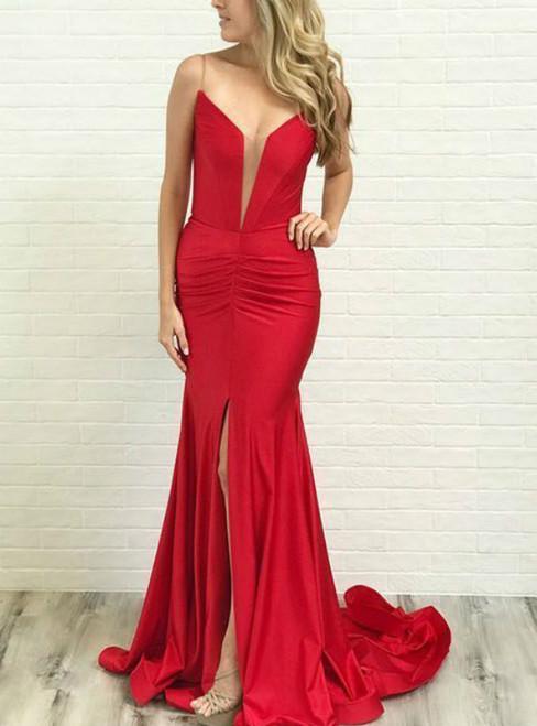 Sexy Mermaid Spaghetti Straps Red Satin Prom Dress with Split