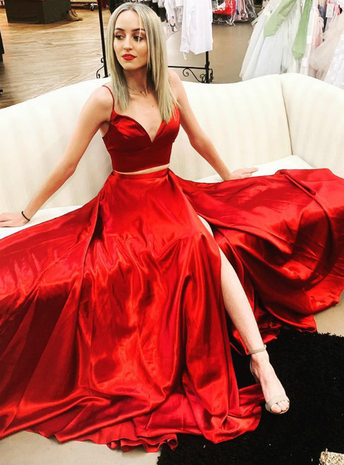 Simple Red Satin Spaghetti Straps Two Piece Long Prom Dress