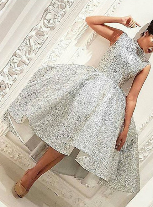 Sparkly Sliver Sequins Hi-Lo Ball Gown Prom Dresses High Neck Knee-Length Sleeveless
