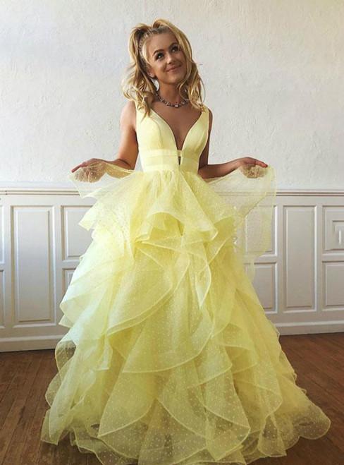 Yellow Long Prom Dress