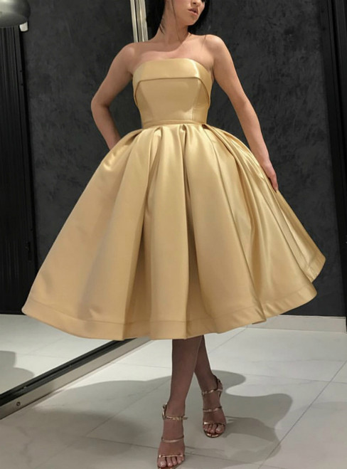 A-Line Gold Strapless Short Tea Length Prom Dress