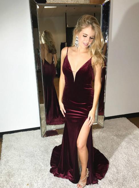 Burgundy Mermaid Velvet Spaghetti Straps Backless Prom Dress