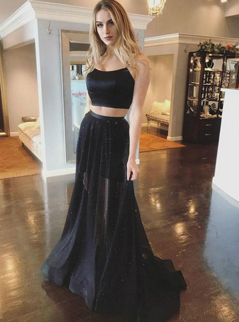 Black Two Piece Satin Spaghetti Straps Cross Back Long Prom Dress