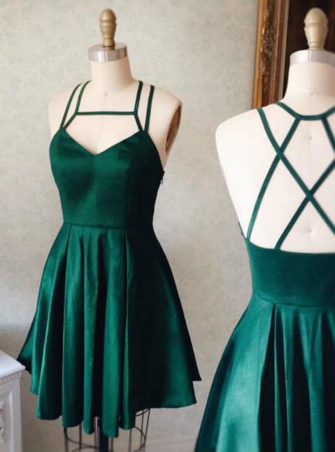 Cute A-line Short Green Prom Dress Homecoming Dress 2017
