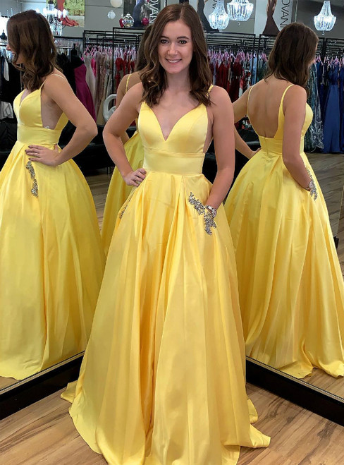 A-Line Yellow Satin Spaghetti Straps Long Prom Dress With Pocket