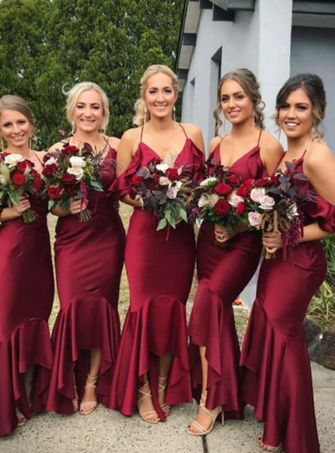 Burgundy Mermaid Satin Spaghetti Straps Bridesmaid Dress