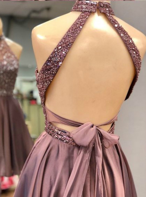 A-Line Purple Satin High Neck Backless Homecoming Dress With Beading
