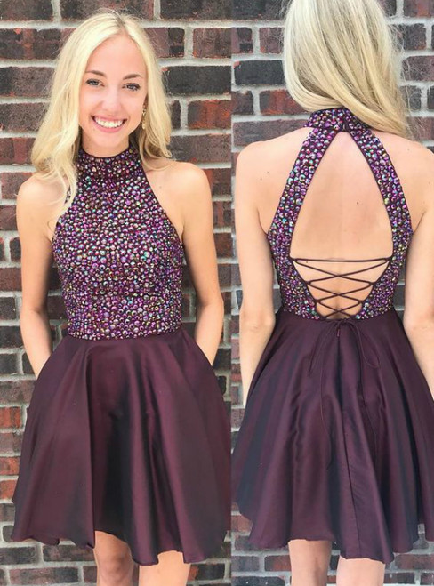 A-Line Purple Satin Halter Backless Homecoming Dress With Crystal