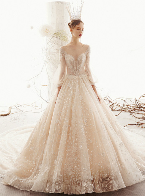Champagne Ball Gown Tulle Sequins Long Sleeve Backless Wedding Dress