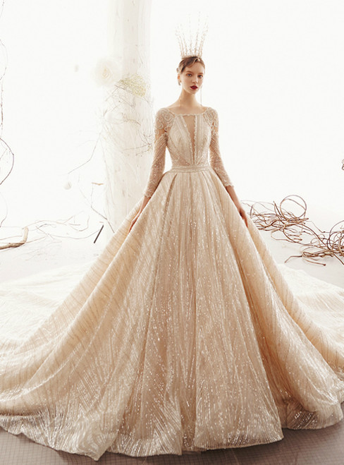 Champagne Ball Gown Tuller Sequins Long Sleeve Wedding Dress With Long Train