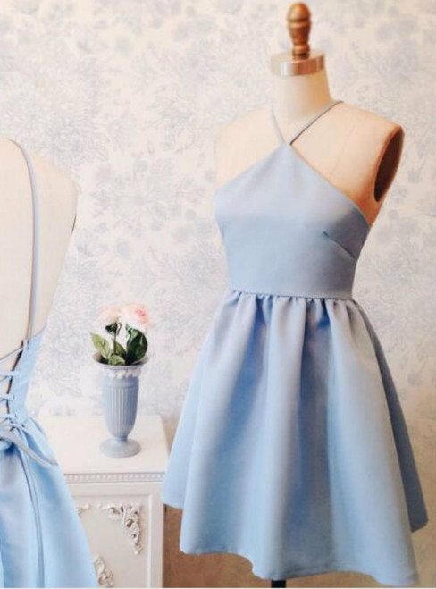 Baby Blue Short A Line Party Dress Tie Back Cute Prom Dress Homecoming Dress
