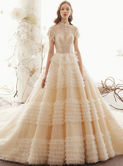 Champagne Ball Gown Tulle Lace High Neck Backless Wedding Dress With Beading