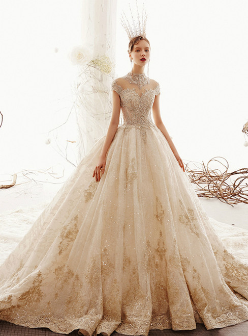 Champagne Ball Gown Tulle Appliques High Neck Cap SLeeve Wedding Dress With Long Train