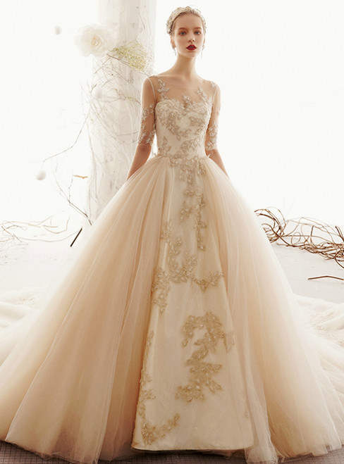 Champagne Ball Gown Tulle Appliques Short Sleeve Wedding Dress With Long Train