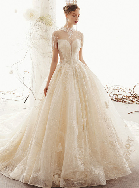 Champagne Tulle Sequins High Neck Backless Beading Wedding Dress With Long Train