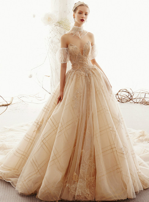 Champagne Tulle Sweetheart Puff Sleeve Appliques Wedding Dress With Long Train