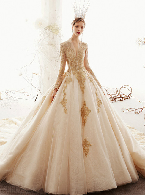 Champagne Ball Gown Tulle V-neck Long Sleeve Appliques Wedding Dress