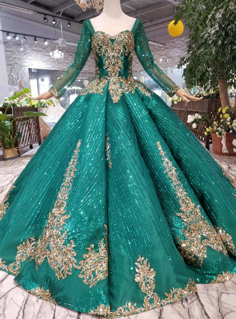 Green Ball Gown Sequins Long Sleeve Square Neck Colorful Wedding Dress