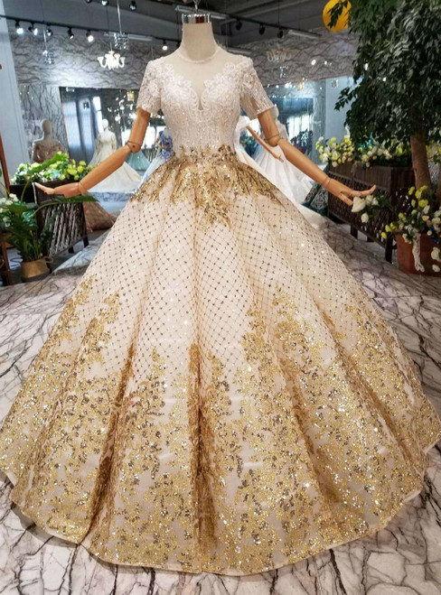 Champagne Ball Gown Sequins Short Sleeve Sequins Appliques Wedding Dress