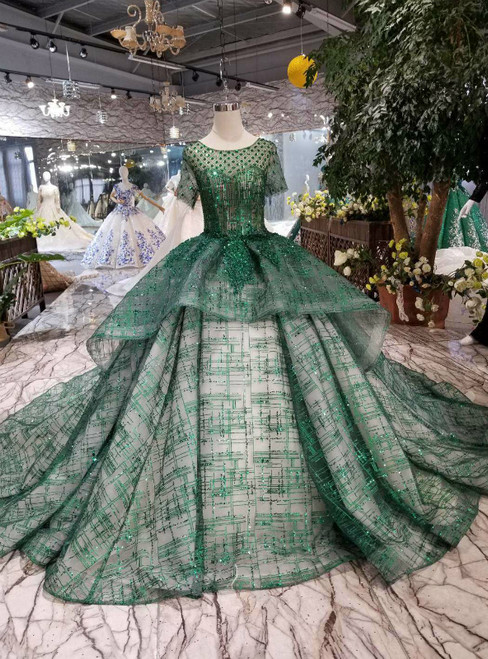 Green Ball Gown Sequins Short Sleeve Wedding Dress With Long Train