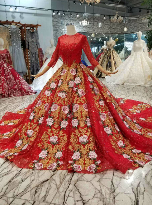 Red Ball Gown Sequins Embroidery 3/4 Sleeve Wedding Dress With Long Train