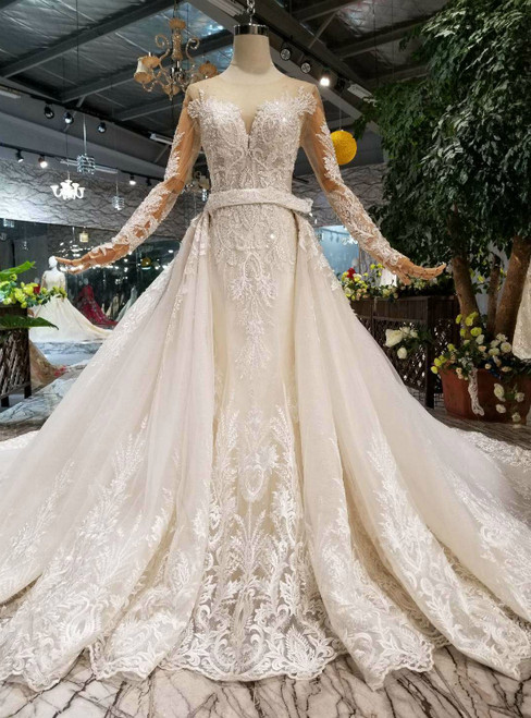 Champagne Tulle Sequins Appliques Long Sleeve Beading Wedding Dress With Removable Train