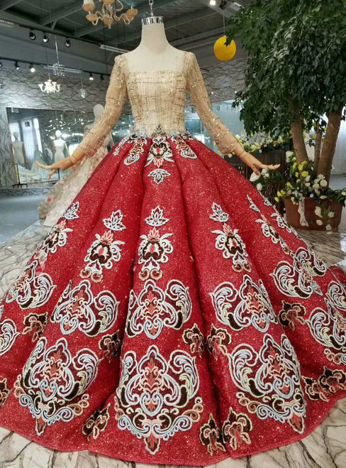 Red Ball Gown Sequins Square Neck Long Sleeve Beading Wedding Dress