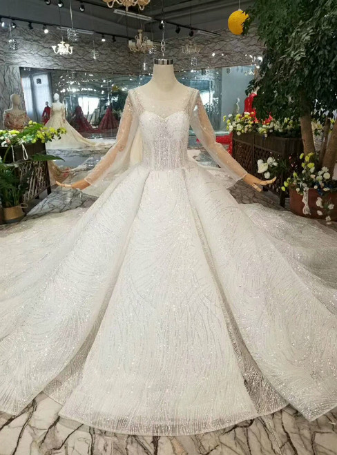 Light Champagne Tulle Sequins Bateau Long Sleeve Wedding Dress With Beading