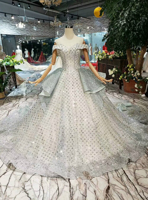 Silver Gray Ball Gown Tulle Sequins Off The Shoulder Wedding Dress With Long Train