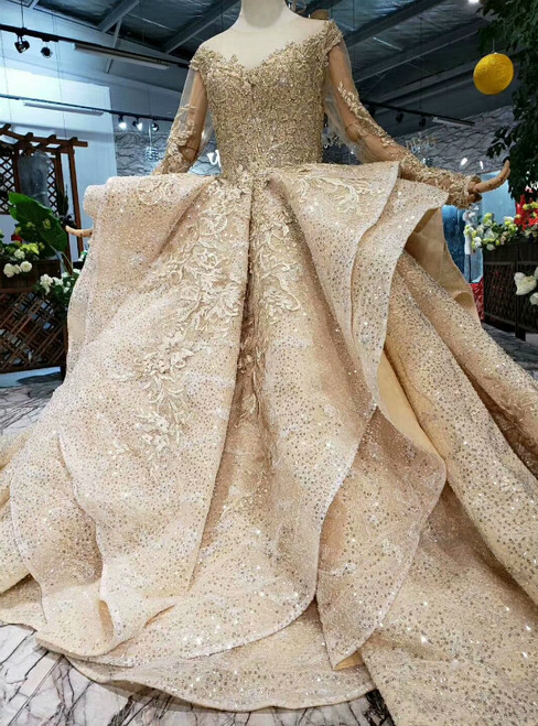 Luxury Champagne Gold Sequins Long Sleeve Appliques Wedding Dress