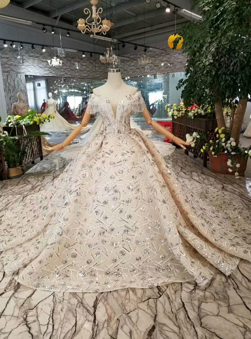 Champagne Ball Gown Sequins Off The Shoulder Beading Wedding Dress