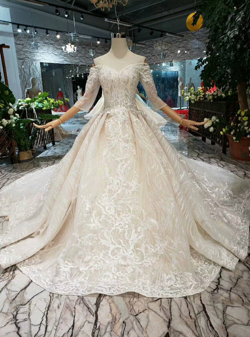 Champagne Ball Gown Tulle Lace Appliques Off The Shoulder Short Sleeve Wedding Dress