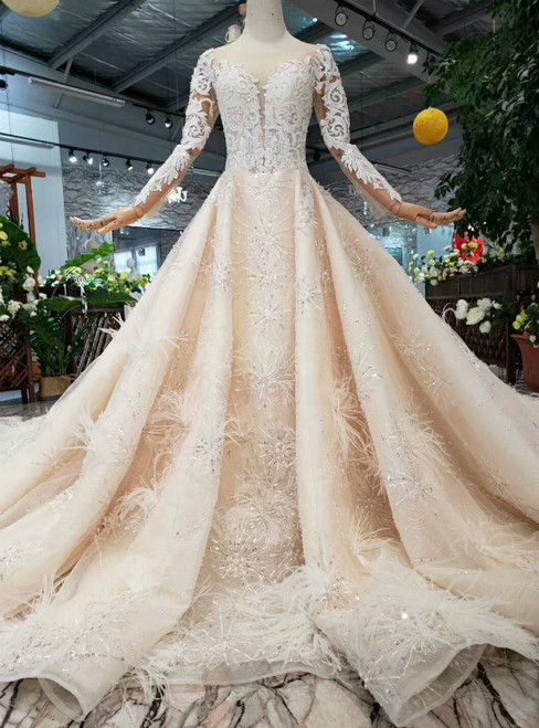 ccaeea19aff5 Ball Gown Tulle Sequins Long Sleeve Lace Appliques Wedding Dress With  Feather