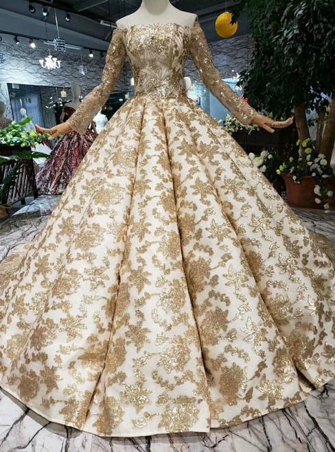 Champagne Gold Sequins Off the Shoulder Long Sleeve Wedding Dress