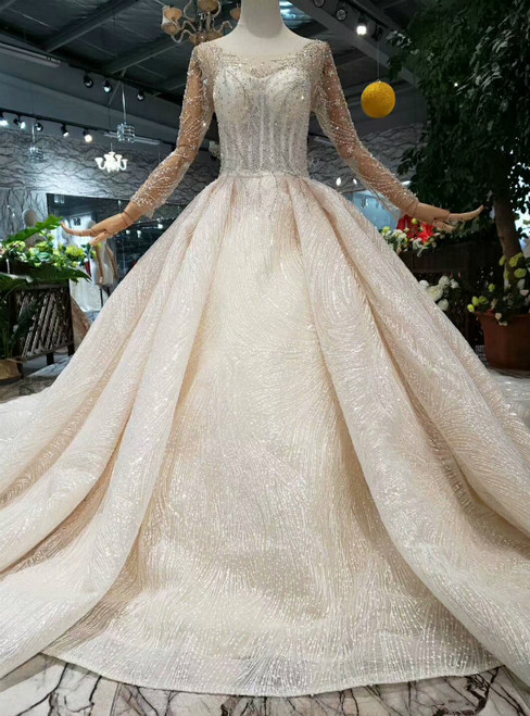 Champagne Tulle Sequins Bateau Long Sleeve Backless Wedding Dress