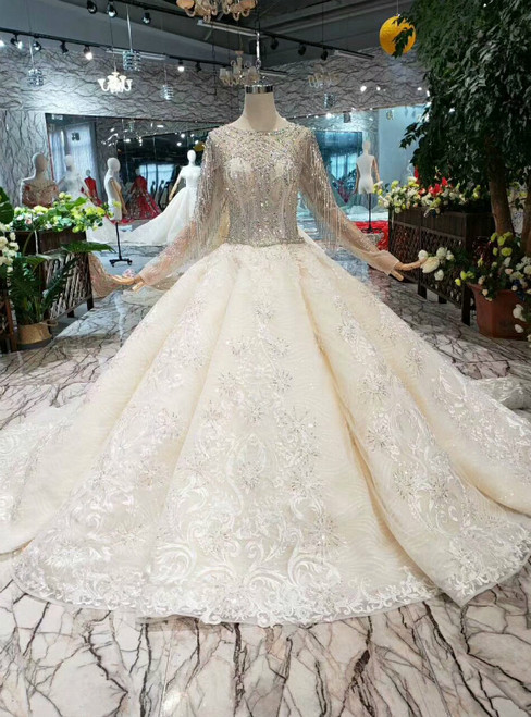 Champagne Tulle Lace Long Sleeve Wedding Dress With Beading Crystal