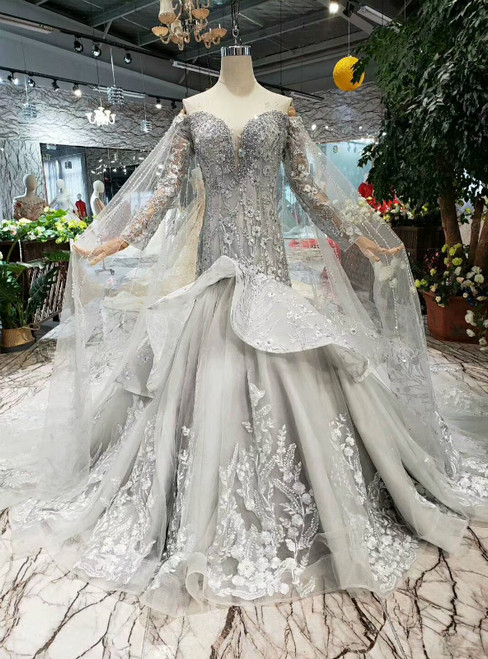 Gray Mermaid Tulle Appliques Off The Shoulder Long Sleeve Wedding Dress
