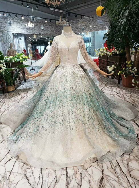 Champagne Ball Gown Tulle Green Sequins High Neck Long Sleeve Appliques Wedding Dress