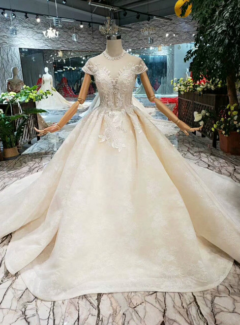 Champagne Ball Gown Lace High Neck Backless Cap Sleeve Beading Wedding Dress