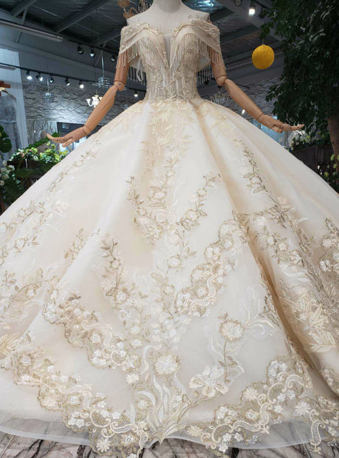 Champagne Tulle Appliques Off the Shoulder Beading Haute Couture Wedding Dress