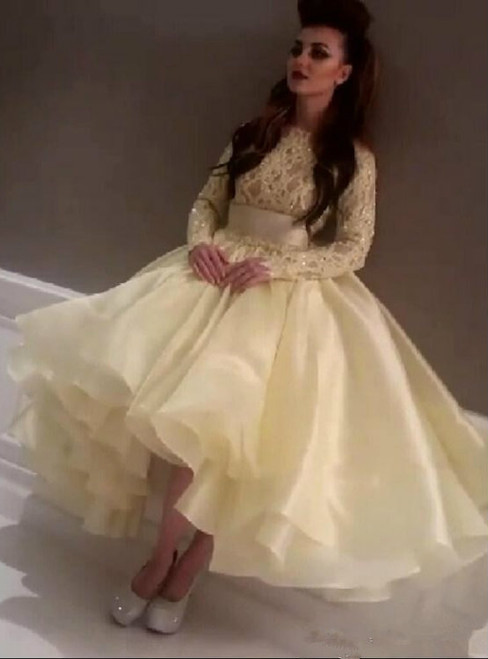 Prom Dress Party Dress Long Sleeves Lace Bodice and Puffy Organza Skirt Formal