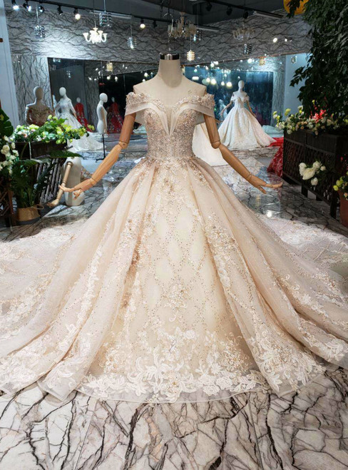 Champagne Tulle Appliques Off The Shoulder Beading Wedding Dress With Long Train