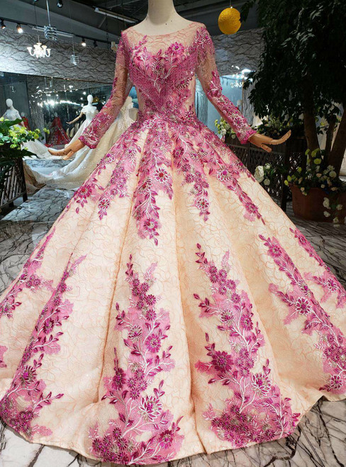 Champagne Ball Gown Pink Appliques Beading Long Sleeve Wedding Dress