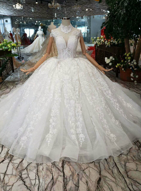 Light Champagne Tulle Lace Appliques High Neck Cap Sleeve Wedding Dress