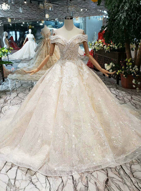 Tulle Sequins Off The Shoulder Appliques Champagne Wedding Dress