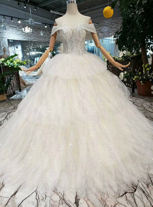 Champagne Ball Gown Tulle Sequins Off The Shoulder Wedding Dress With Beading