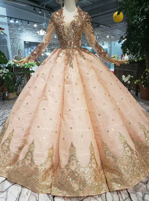 Champagne Ball Gown Sequins Appliques V-neck Long Sleeve Wedding Dress
