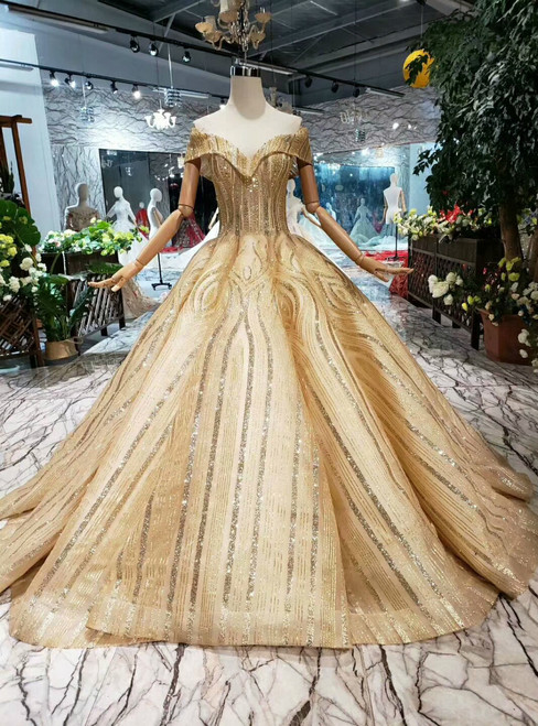 Gold Ball Gown Sequins Off the Shoulder Beading Wedding Dress